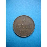 РИ 5 пенни 1917 г. Вензель.