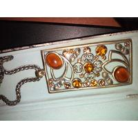 Большой кулон с цепочкой плавленный янтарь
