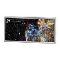 """RARE Самоа 5 долларов 2015г. """"25 лет космическому телескопу Хаббл"""". Монета в капсуле; подарочном футляре; сертификат. СЕРЕБРО 31,135гр.(1 oz)."""
