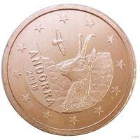1 евроцент 2018 Андорра UNC из ролла