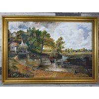 Большая Картина масло холст Англия в Красивой Раме Телега для сена С рубля! 76x51см