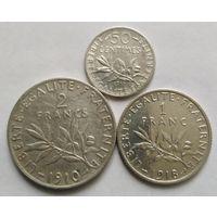 1 и 2 франка,50 сантимов.835 пр.,Франция.Третья Республика (1870 - 1941).
