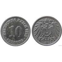 YS: Германия, Рейх, 10 пфеннигов 1910F, KM# 12