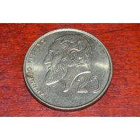 20 центов 1991 Кипр КМ# 62.2 никелевая латунь