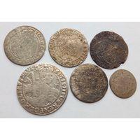 Шикарный лот!!! Серебро!!! Орт 1622 года +6 грошей 1626 +6 грошей 1663 +6 грошей +2 гроша 1766 (очень редкая) +5 грошей 1819 гг.!!! Оригинал!!!