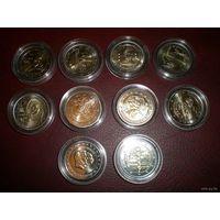 Лот юбилейных 2-х еврочных монет ( 11 шт.), состояние  UNC