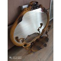 Антикварное литьё зеркало 50 годыс подсвечниками