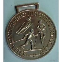 Медаль спортивная ГДР. Размер 5см. Алюминий