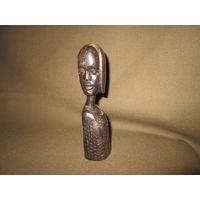 С 1 рубля!Африканская антикварная статуэтка эбеновое(чёрное) дерево высота 15 см