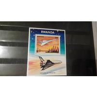 Транспорт, авиация, самолеты, воздушный флот, космос, космический челнок, марки, Руанда, 1978, блок
