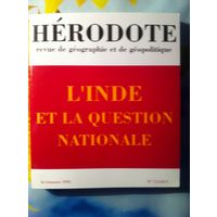 REVUE HERODOTE L'Inde et la question nationale. 1993