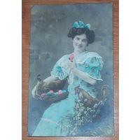 Старая пасхальная открытка 1909 год