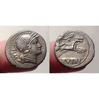 Римская Республика, монетарий Луций Рутилий Флакк, 77 год до н.э., денарий