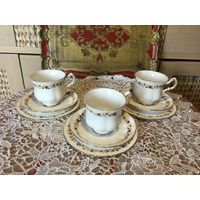 Чайная тройка Золотая Осень Англия костяной фарфор 3 шт
