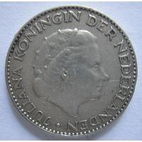 Нидерланды. 1 гульден 1956 Королева Юлиана. Серебро .291