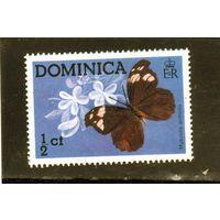 Доминика.Ми-430. Бабочка (Myscelia antholia) Серия: Бабочки. 1975.