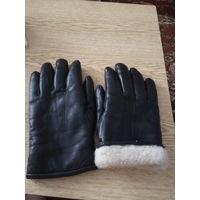Перчатки из натуральной кожи на шерстяном войлоке, р 27.