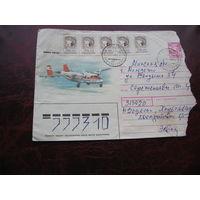 Конверт Самолёты КБ Антонова, марки Украины, штамп Водолага - Молодечно