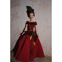 """Продам новое ПЛАТЬЕ с головной повязкой для куклы Барби: """"Дама ЧЕРВЕЙ"""" - машинный самошив, сидит весьма аккуратно. Сама кукла, как и её головной убор в стоимость не входят. Пересыл по почте платный!"""