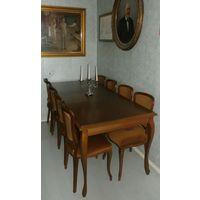 Столовый гарнитур . Стол обеденный раздвижной и 8 стульев. Венские ножки. Обеденная группа. Массив. Италия