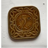 """Суринам 5 центов, 1966 Без отметки """"рыба"""" 2-12-49"""