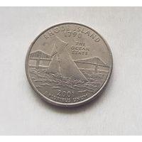 25 центов США 2000 г. штат Род-Айленд D