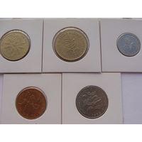 """Руанда. набор из 5 монет 1,5,10,20,50 франков-с 1977-1987 год  """"ФЛОРА"""" Редкий набор!!!"""