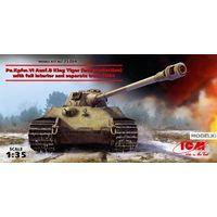 """Pz.Kpfw. VI Ausf.B """"Королевский Тигр"""" (позднего производства) с полным интерьером и наборными траками, сборная модель танка 1/35 ICM 35364"""
