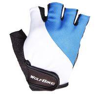 Велосипедные перчатки Wolfbike короткие пальцы голубые, красные, черные