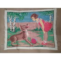 Вышивка картина старая 55/40 см собака мяч девочка