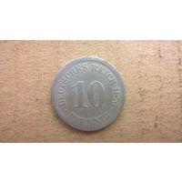 """Германская империя 10 пфеннигов, 1876""""J"""" (D-21)"""