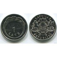 Латвия. 1 лат (2009, UNC) кольцо