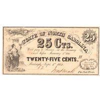 США, конфедерация, Северная Каролина, 1862 г., 25 центов.  Редкие!