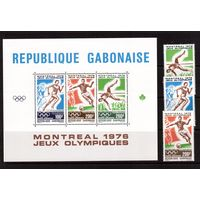 Габон-1976 (Мих.602-604,Бл.30) **  , Спорт, футбол,ОИ-1976