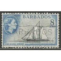 Барбадос. Королева Елизавета II. Парусник. 1953г. Mi#209.