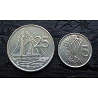 Каймановы острова. 2 монеты 1982, 1990 г.