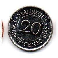 Королевство  Маврикий 20 ЦЕНТОВ 1987