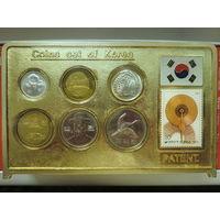 Плакета с монетами Южной Кореи (6 монет + марка)