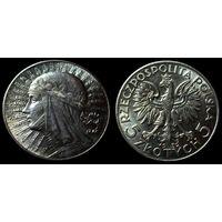 5 злотых 1932 (1) UNC, штемпельный блеск, люстр, отличное коллекционное состояние