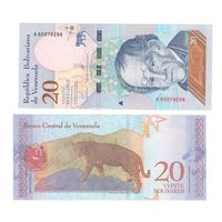 """Банкнота Венесуэла 20 боливаров 2018 UNC ПРЕСС новый деноминированный """"суверенный"""" боливар"""