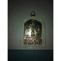 Плакетка-медальон-иконка Киево-печерская лавра 1000летие крещение Руси 1988 год. Алюминий.