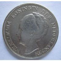Нидерланды. 1 гульден 1931 Королева Вильгельмина . Серебро .292