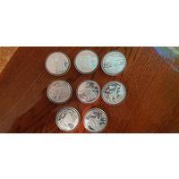 """Конго 2007. Комплект из 8 монет """"животный мир в опасности"""". Распродажа. Снижение цены."""