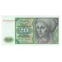 Германия ФРГ 20 марок 1970 года. Редкий год! Состояние UNC!
