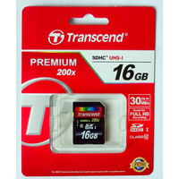Карта памяти  SDHC UHS-I Card 16 GB, 30MB/s Transcend klass 10.
