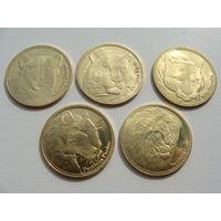 "Сомалиленд. 5 шиллингов 2016 год набор из 5 монет ""Кошки"""