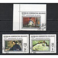 Живопись Мане Мадагаскар 1982 год серия из 3-х марок