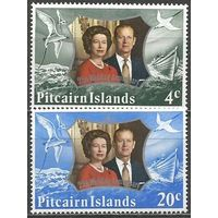 Питкэрн. Королева Елизавета II и принц Филипп. 25 лет свадьбы. 1972г. Mi#127-28. Серия.