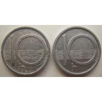 Чехия 10 геллеров 1998, 2002 гг. Цена за 1 шт.