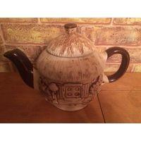 Необычный красивый чайник из качественной керамики, новый, есть фабричный дефект (на фото3 виден, но это трещинка не от удара, а фабричный брак). Чайник примерно на 750 мл,высота 15 см с крышкой.